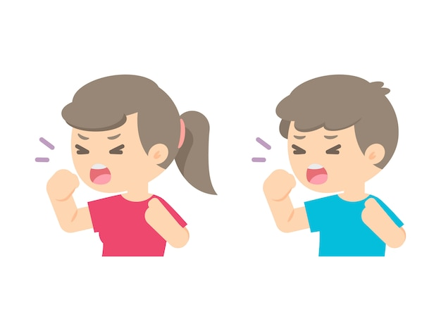 Young girl and boy coughing, sickness allergy concept, vector flat illustration.