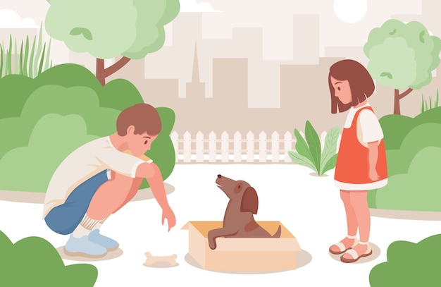 Young girl and boy taking care of little puppy living in city park