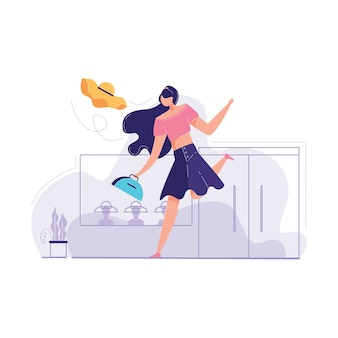 Young girl casual clothes is covering her face vector illustration