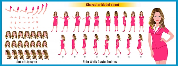 Young girl character model sheet with walk cycle animations and lip syncing