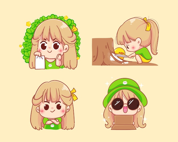 Young girl character with various emotions cartoon set illustration