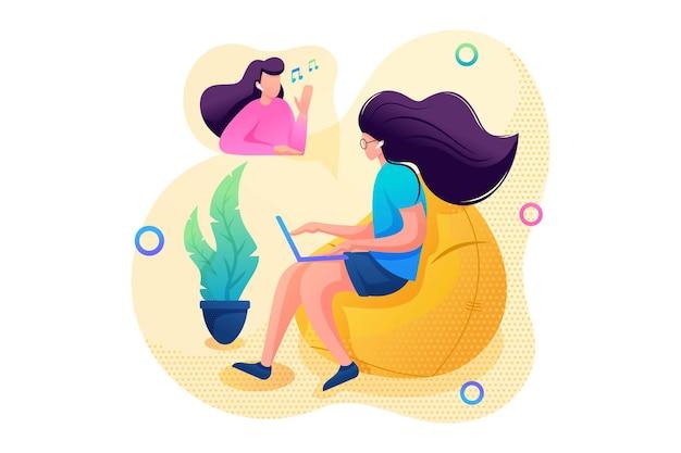 어린 소녀는 비디오 링크를 통해 친구와 온라인으로 의사 소통합니다. 플랫 2d 캐릭터. 웹 디자인에 대한 개념입니다.