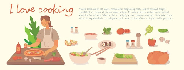 Young girl cooking in kitchen at home. cooking pizza, chicken and salad with ingredients. modern illustration in modern flat style.