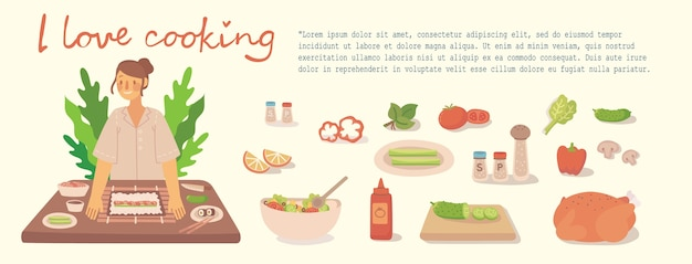Young girl cooking in kitchen at home. cooking sushi, pizza, chicken and salad with ingredients. modern illustration in modern flat style.
