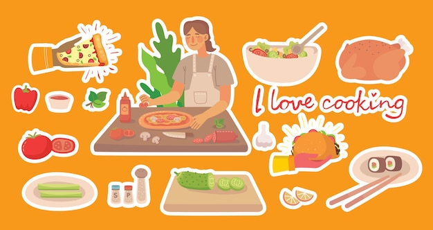 집에서 부엌에서 피자를 요리하는 어린 소녀. 평면 스타일에 요리 스티커 벡터 개념