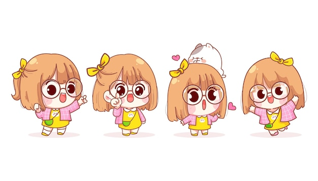 Young girl in different gestures cartoon illustration