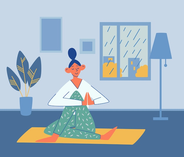 Young girl does yoga at home. rain outside the window. sport, yoga, fitness concept. active lifestyle and body healthcare. meditation practice. interior. doing yoga at home. flat vector illustration