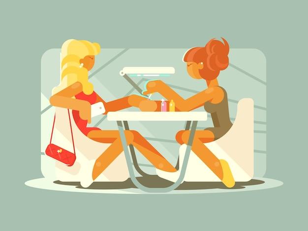 美容院でマニキュアをしている少女。フラットイラスト