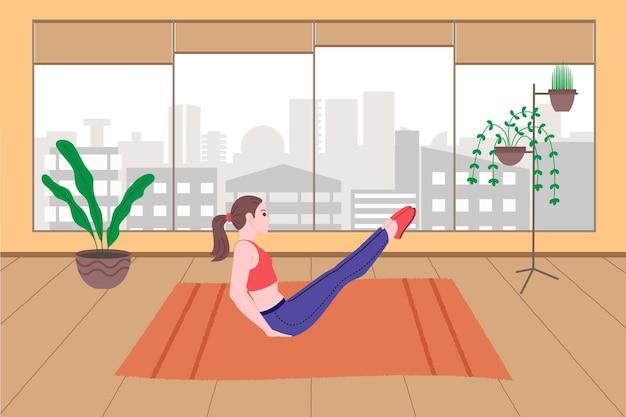 Молодая девушка занимается спортом, физическими упражнениями, домашними тренировками и фитнесом дома во время карантина и ведет здоровый образ жизни. плоские векторные иллюстрации. люди, мужчины и женщины используют дом как спортзал.
