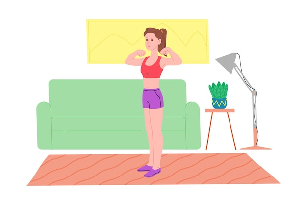 Young girl doing sports physical exercises, home workouts and fitness at home during quarantine and lead healthy lifestyle. flat vector illustration. people, men and women using the house as a gym.