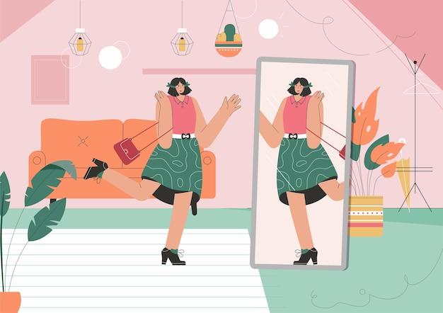 Молодая девушка одевается перед зеркалом дома