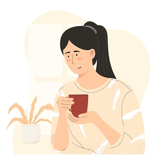 Young girl drinking coffee flat illustration morning coffee