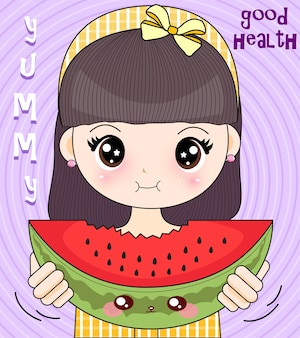 Young girl eating healthy watermelon