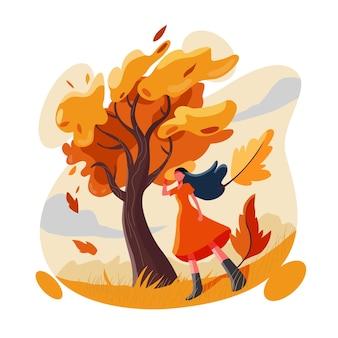 가을을 즐기는 어린 소녀