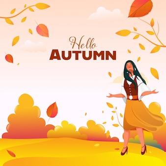 Young girl enjoying autumn season on glossy nature background.