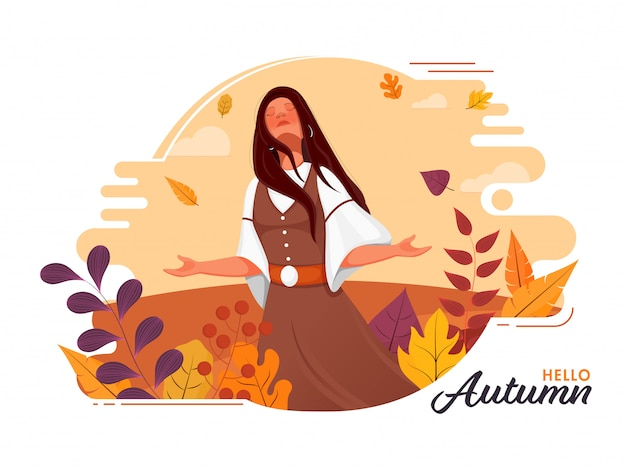 Young girl enjoying autumn season with colorful leaves, berry branch on abstract background.
