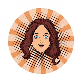 Young girl face avatar cartoon pop art
