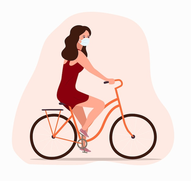 Young girl in the face mask on  bicycle  side profile view isolated.  flat illustration.