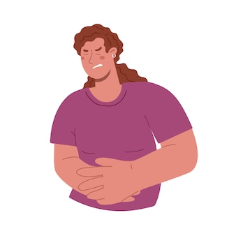 A young girl grabbed her hands on her stomach, severe pain in the stomach, her period, pregnancy, risk of miscarriage.vector flat illustration.