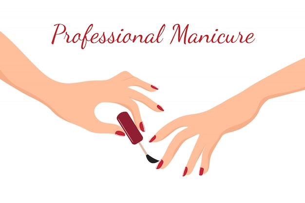 Young girl hands doing manicure with red nail polish. beauty, body care and nail salon vector concept