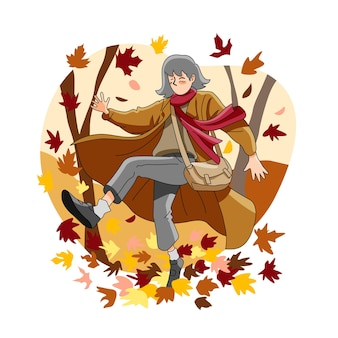 Young girl having fun outside on autumn
