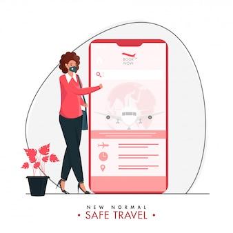 新しい通常の安全な旅行のための白い背景の上の摩耗保護マスク付きのスマートフォンでフライトのオンラインチケット予約を持つ少女。