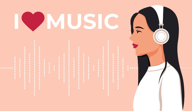 Young girl in headphones listening to music. i like music. music wave. illustration background