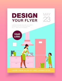 Young girl helping her mom to clean kitchen, dusting furniture, wiping fridge flyer template