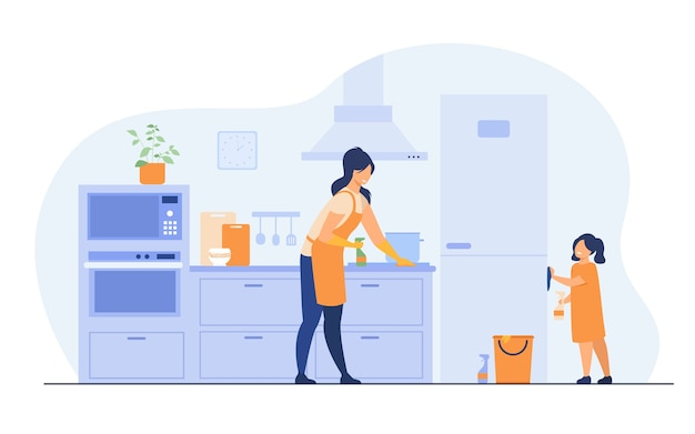 Young girl helping her mom to clean kitchen, dusting furniture, wiping fridge. vector illustration for family home activities, housework chores, household concept.