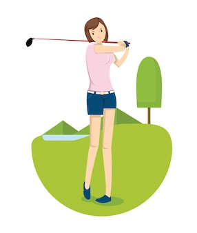 A young girl hit the golf ball in golf course
