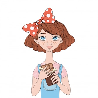 Young girl holding a chocolate bar. sweet tooth.  portrait illustration,  on white background.