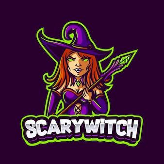팀 및 스트림에 대한 마술 스틱 마스코트 로고를 들고 어린 소녀