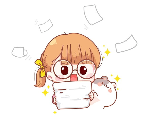 Young girl holding a pile of papers cartoon illustration