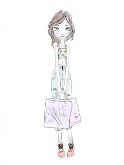Young girl holding shopping bags in hands. hand-drawn sketch.  illustration,  on white background.