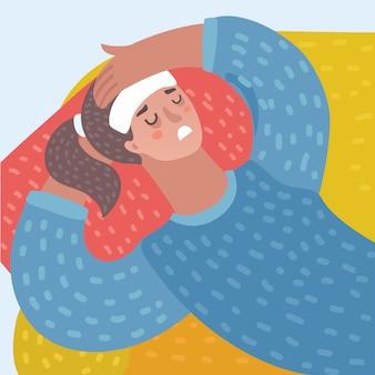 안경 및 빨간 모자에서 어린 소녀 감기 독감 또는 바이러스를 붙 잡았다. 빨간 코, 고온 및 손수건을 보유하고 있습니다. 주변에서 질병을 치료하는 방법. 파란색 배경에 고립 된 개체