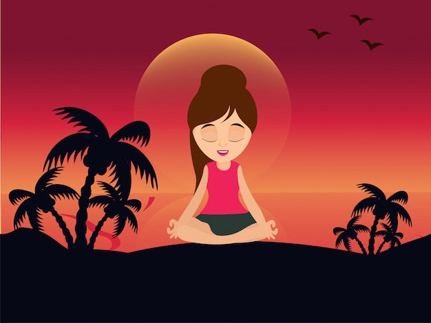若い、女の子、瞑想、姿勢