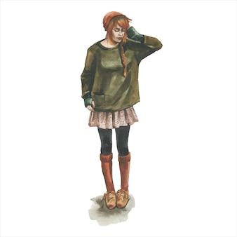スタイリッシュな流行の服の若い女の子
