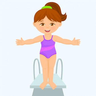 Young girl is standing on a diving board