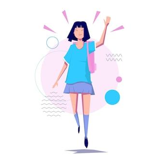 若い女の子-ジャンプ-幸せとパステルカラーで手を振る