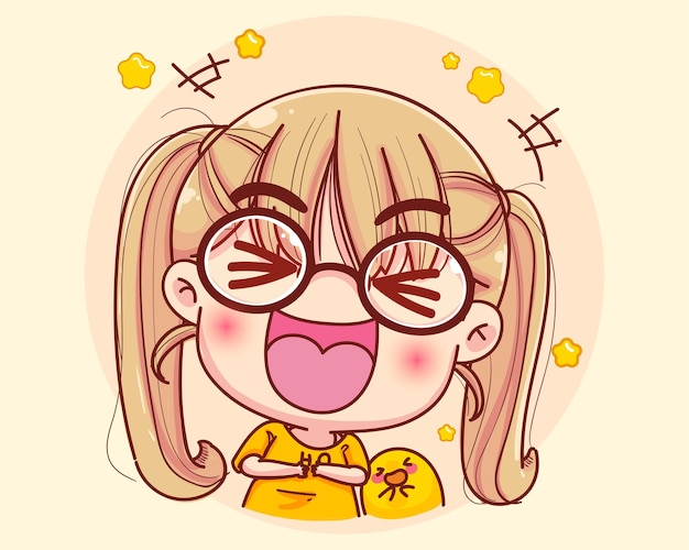 Young girl laugh very happy cartoon illustration