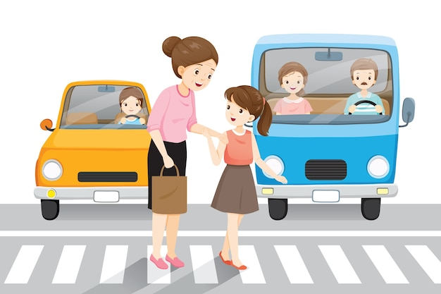 Young girl leading old woman crossing the street on crosswalk, cars waiting them