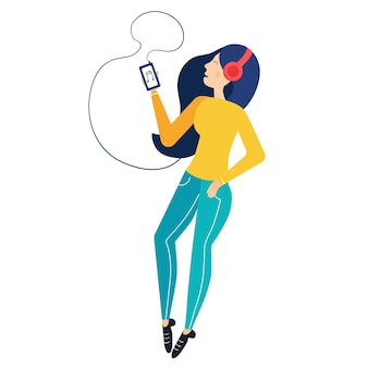 Young girl listening to music in headphones from the phone. simple character modern flat.