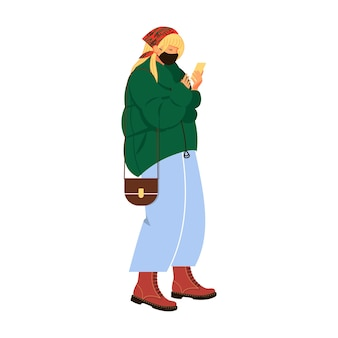 A young girl looks at the phone in anticipation   vector illustration in cartoon