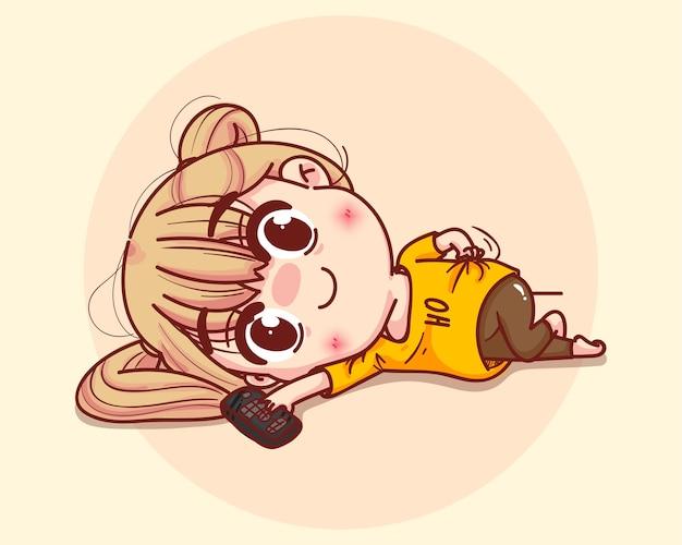 Young girl lying on the floor cartoon set illustration