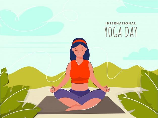 国際ヨガの日の自然の背景にロータスポーズで瞑想の若い女の子。