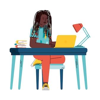 Молодая девушка или подросток мультипликационный персонаж учится удаленно через домашний компьютер