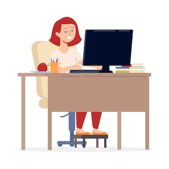 コンピューター フラット イラストの後ろに座っている若い女の子または 10 代