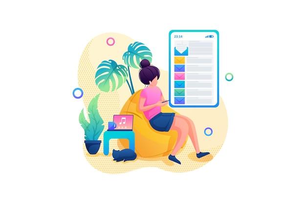 어린 소녀는 메일, 원격 작업에서 편지를 구문 분석합니다. 플랫 2d. 벡터 일러스트 레이 션 웹 디자인입니다.