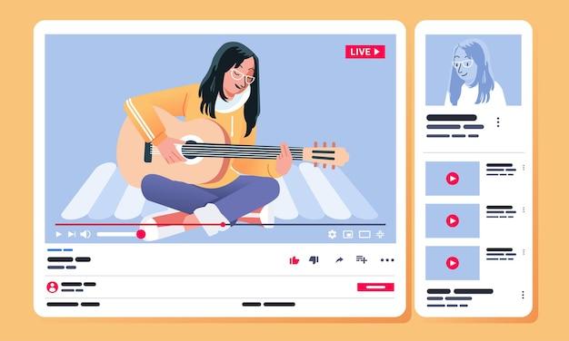 デスクトップビューのビデオ共有チャネルでビデオコンテンツを歌いながらギターを弾く少女
