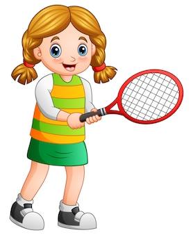 Молодая девушка играет в теннис на белом фоне